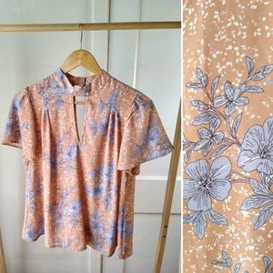 Nude Floral Blouse Periwinkle High Neck Flowy